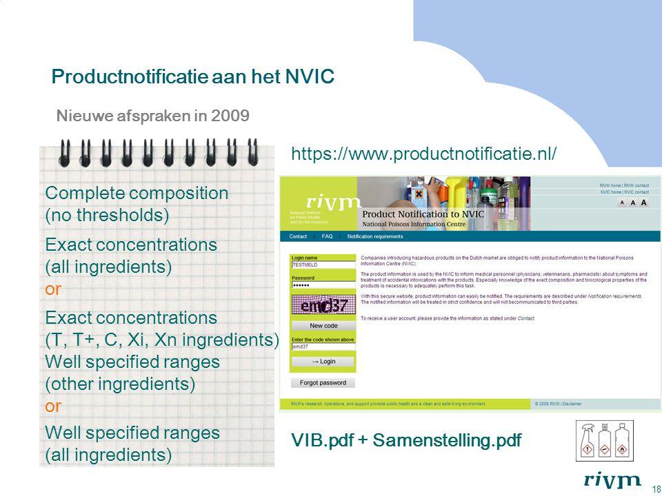 18 Productnotificatie aan het NVIC Nieuwe afspraken in 2009 Exact concentrations (all ingredients) or Exact concentrations (T, T+, C, Xi, Xn ingredien