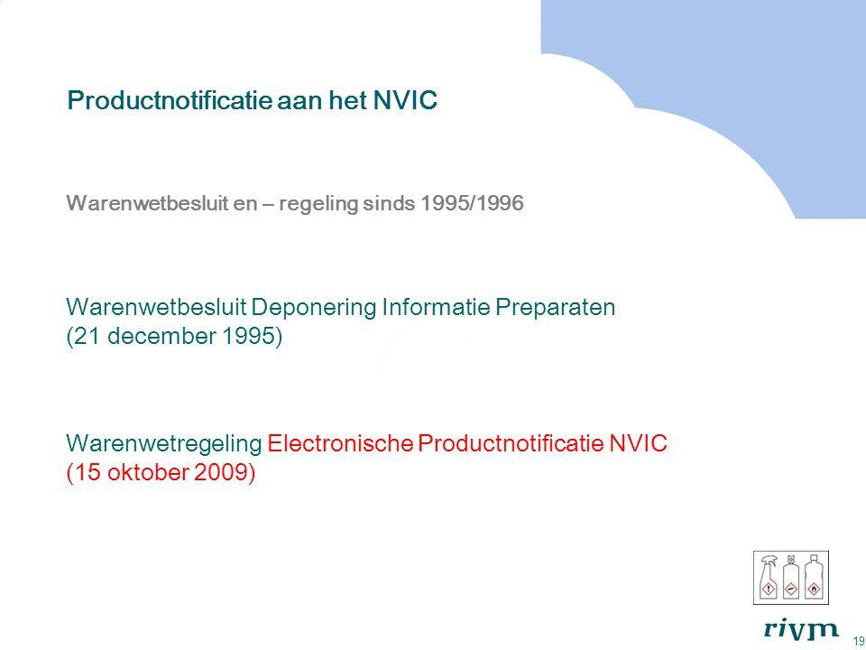 19 Productnotificatie aan het NVIC Warenwetbesluit en – regeling sinds 1995/1996 Warenwetbesluit Deponering Informatie Preparaten (21 december 1995) W
