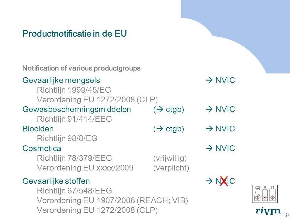 24 Productnotificatie in de EU Notification of various productgroups Gevaarlijke mengsels  NVIC Richtlijn 1999/45/EG Verordening EU 1272/2008 (CLP) G