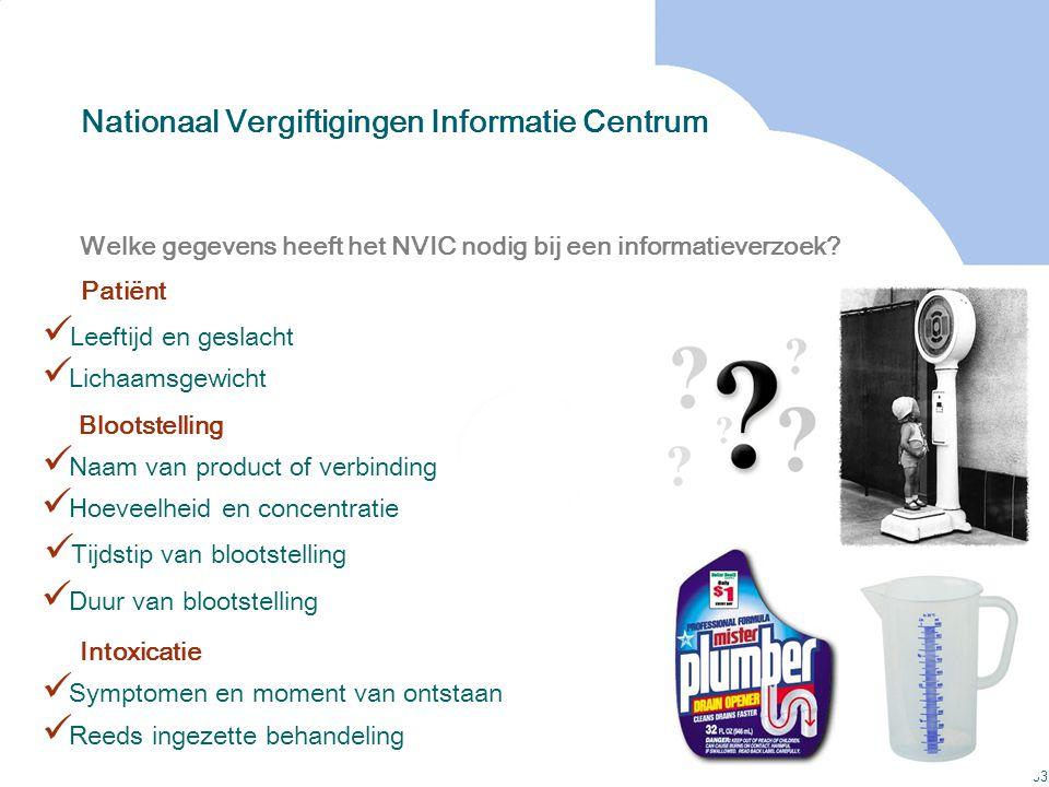 33 Welke gegevens heeft het NVIC nodig bij een informatieverzoek? Leeftijd en geslacht Reeds ingezette behandeling Lichaamsgewicht Naam van product of
