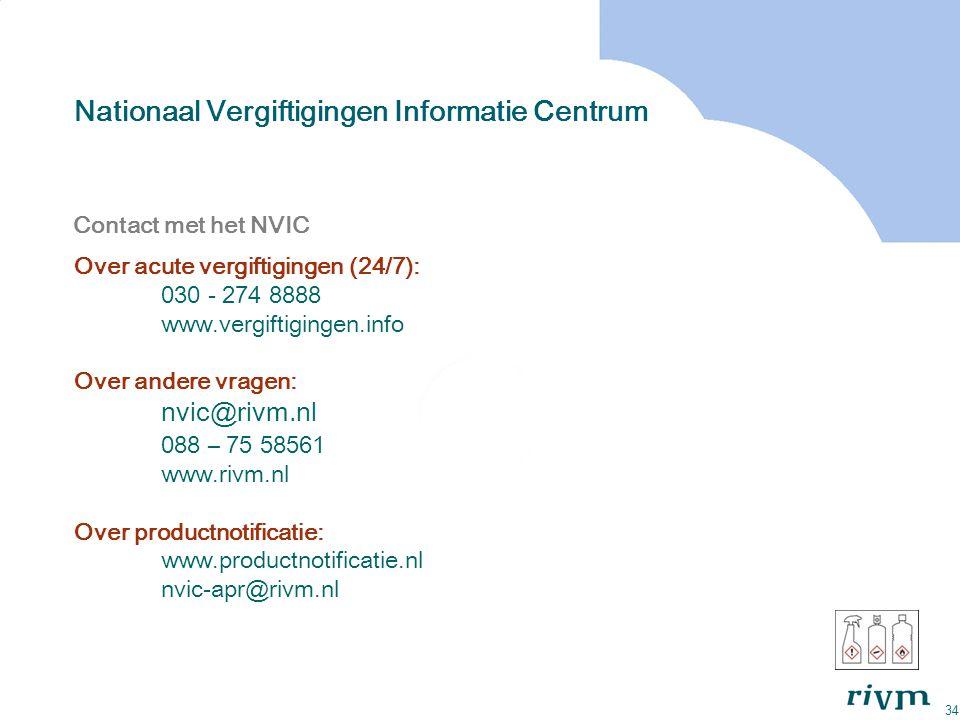 34 Nationaal Vergiftigingen Informatie Centrum Contact met het NVIC Over acute vergiftigingen (24/7): 030 - 274 8888 www.vergiftigingen.info Over ande