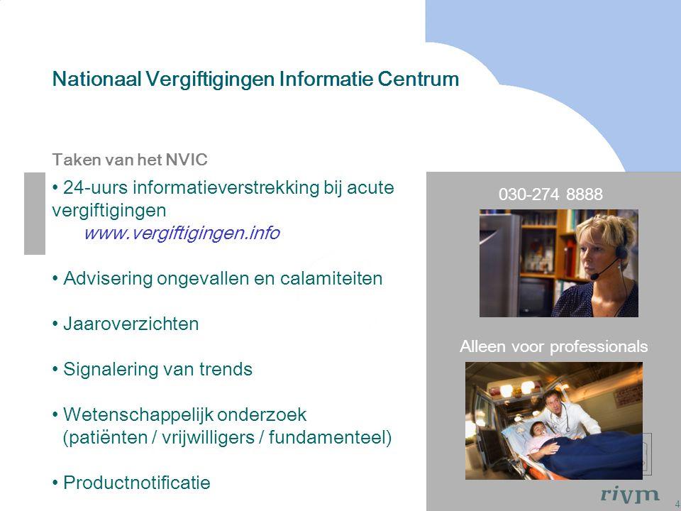 4 Nationaal Vergiftigingen Informatie Centrum Taken van het NVIC 030-274 8888 Alleen voor professionals 24-uurs informatieverstrekking bij acute vergi
