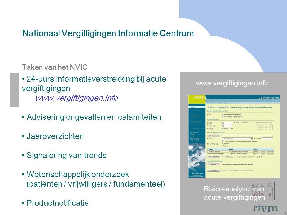 5 Nationaal Vergiftigingen Informatie Centrum Risico-analyse van acute vergiftigingen www.vergiftigingen.info Taken van het NVIC 24-uurs informatiever