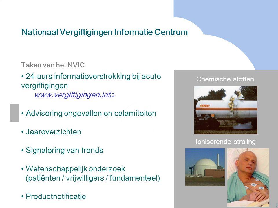 6 Nationaal Vergiftigingen Informatie Centrum Chemische stoffen Ioniserende straling Taken van het NVIC 24-uurs informatieverstrekking bij acute vergi
