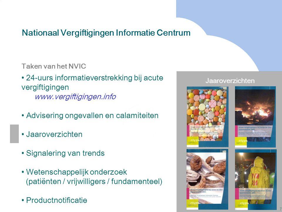 7 Nationaal Vergiftigingen Informatie Centrum Jaaroverzichten Taken van het NVIC 24-uurs informatieverstrekking bij acute vergiftigingen www.vergiftig