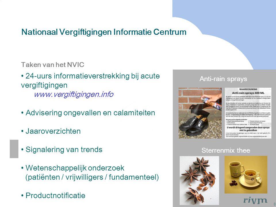 8 Nationaal Vergiftigingen Informatie Centrum Anti-rain sprays Sterrenmix thee Taken van het NVIC 24-uurs informatieverstrekking bij acute vergiftigin