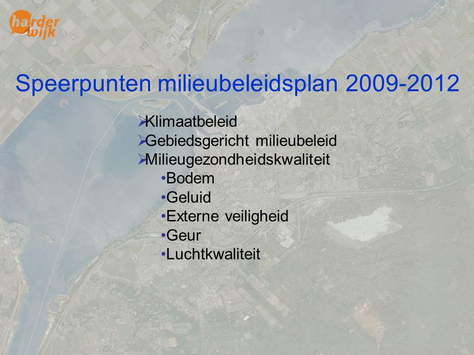 Speerpunten milieubeleidsplan 2009-2012  Klimaatbeleid  Gebiedsgericht milieubeleid  Milieugezondheidskwaliteit Bodem Geluid Externe veiligheid Geu