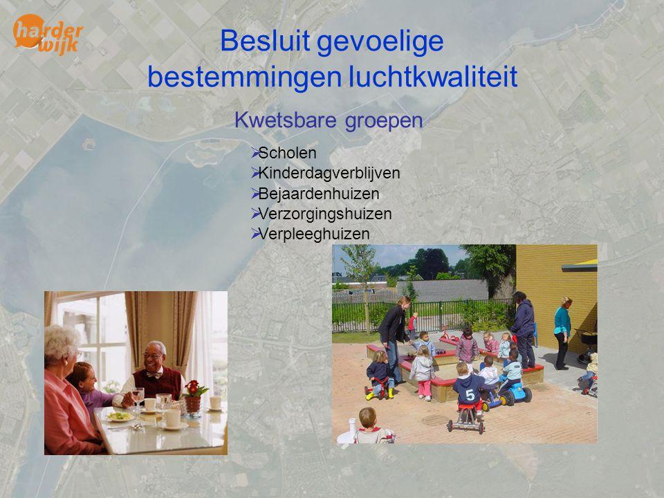 Besluit gevoelige bestemmingen luchtkwaliteit Kwetsbare groepen  Scholen  Kinderdagverblijven  Bejaardenhuizen  Verzorgingshuizen  Verpleeghuizen