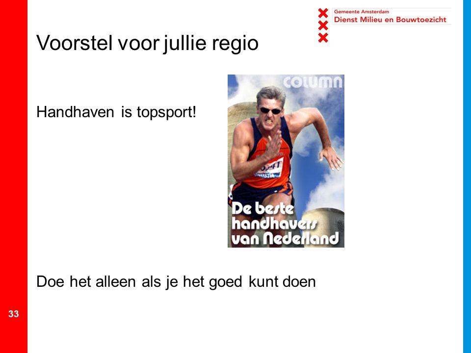 33 Voorstel voor jullie regio Handhaven is topsport! Doe het alleen als je het goed kunt doen