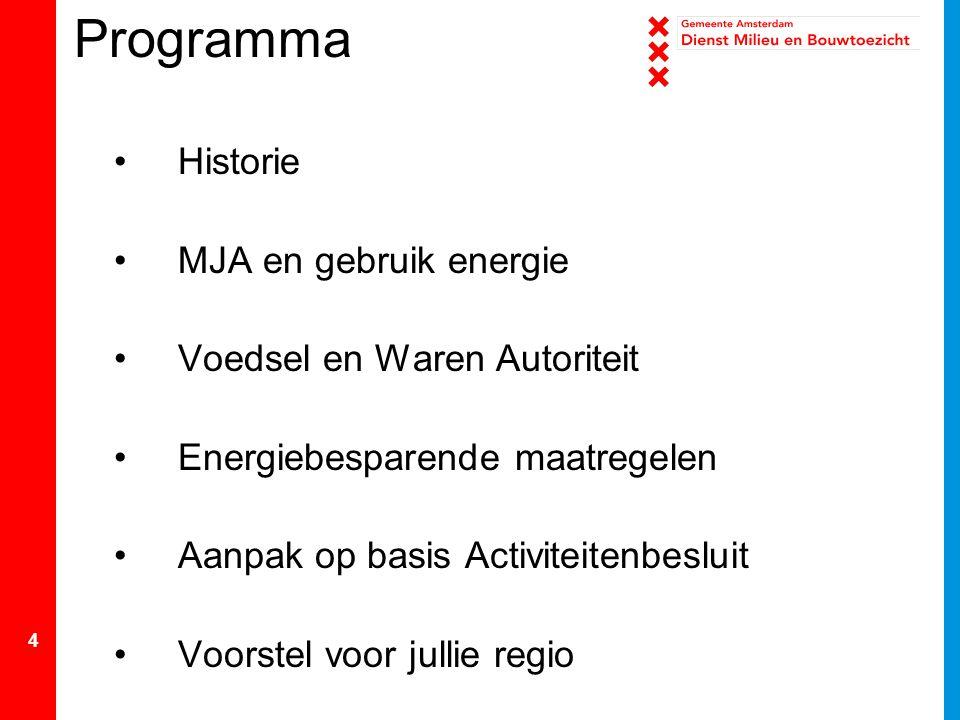 4 Programma Historie MJA en gebruik energie Voedsel en Waren Autoriteit Energiebesparende maatregelen Aanpak op basis Activiteitenbesluit Voorstel voo