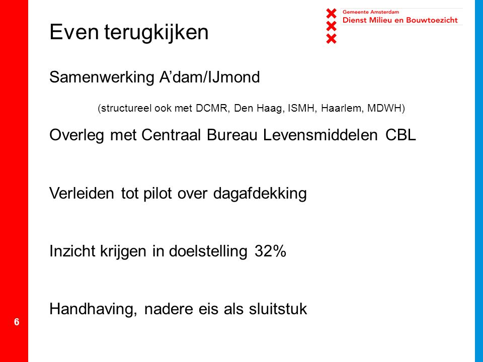 6 Samenwerking A'dam/IJmond (structureel ook met DCMR, Den Haag, ISMH, Haarlem, MDWH) Overleg met Centraal Bureau Levensmiddelen CBL Verleiden tot pil