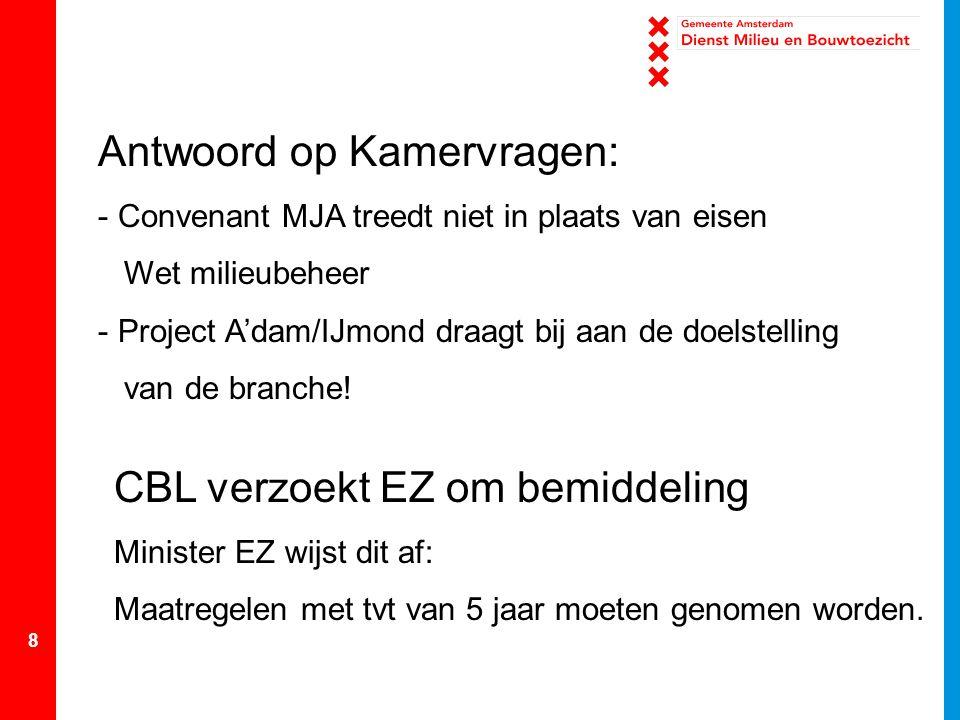 8 Antwoord op Kamervragen: - Convenant MJA treedt niet in plaats van eisen Wet milieubeheer - Project A'dam/IJmond draagt bij aan de doelstelling van
