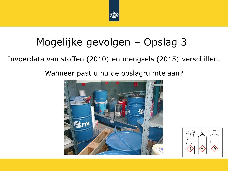 Mogelijke gevolgen – Opslag 3 Invoerdata van stoffen (2010) en mengsels (2015) verschillen. Wanneer past u nu de opslagruimte aan?