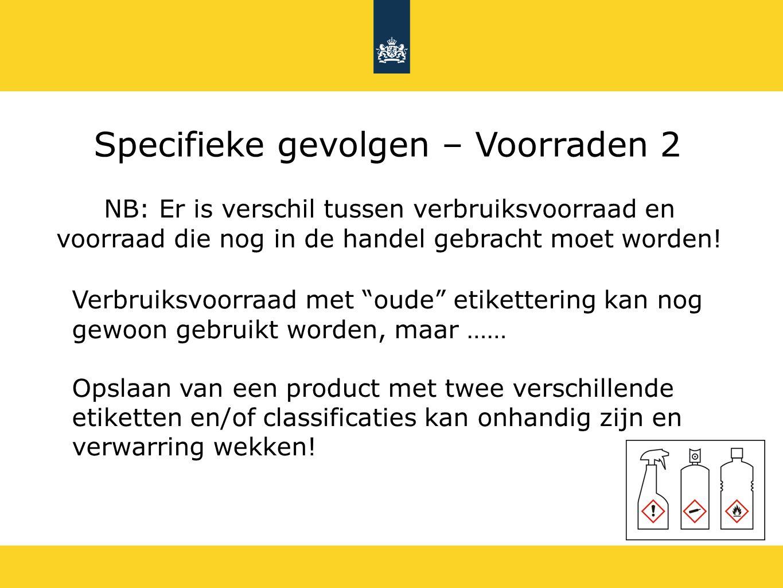 Specifieke gevolgen – Voorraden 2 NB: Er is verschil tussen verbruiksvoorraad en voorraad die nog in de handel gebracht moet worden! Verbruiksvoorraad
