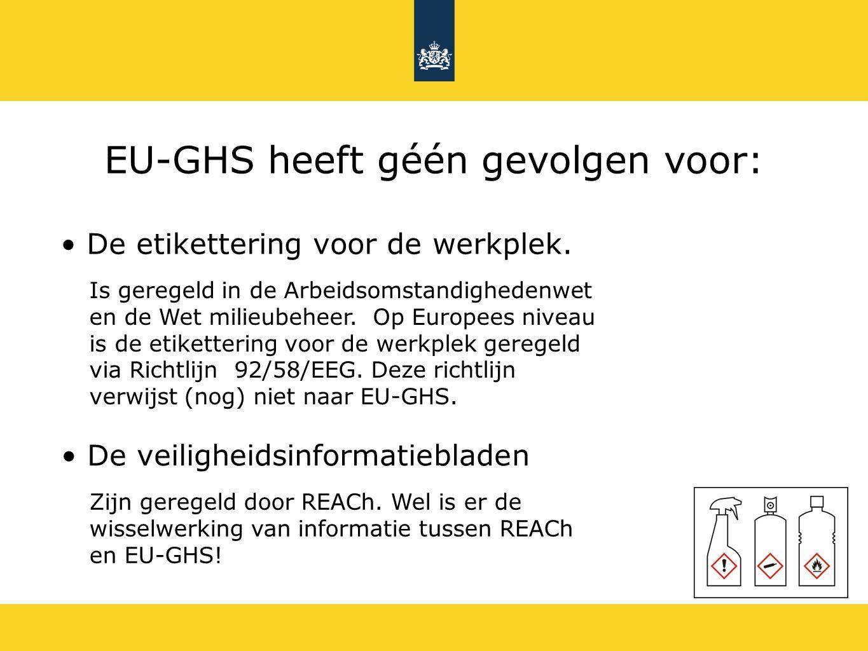 EU-GHS heeft géén gevolgen voor: De etikettering voor de werkplek. De veiligheidsinformatiebladen Zijn geregeld door REACh. Wel is er de wisselwerking