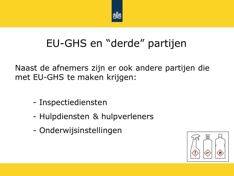 EU-GHS en derde partijen Naast de afnemers zijn er ook andere partijen die met EU-GHS te maken krijgen: - Inspectiediensten - Hulpdiensten & hulpverleners - Onderwijsinstellingen
