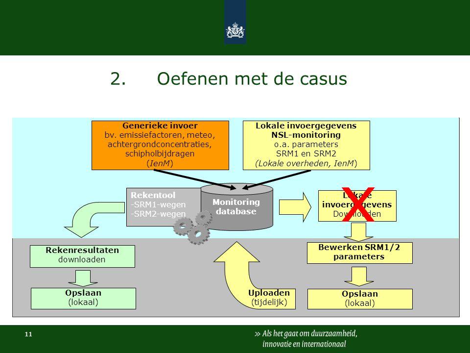 11 2.Oefenen met de casus Monitoring database Rekentool -SRM1-wegen -SRM2-wegen Rekenresultaten downloaden Opslaan (lokaal) Bewerken SRM1/2 parameters