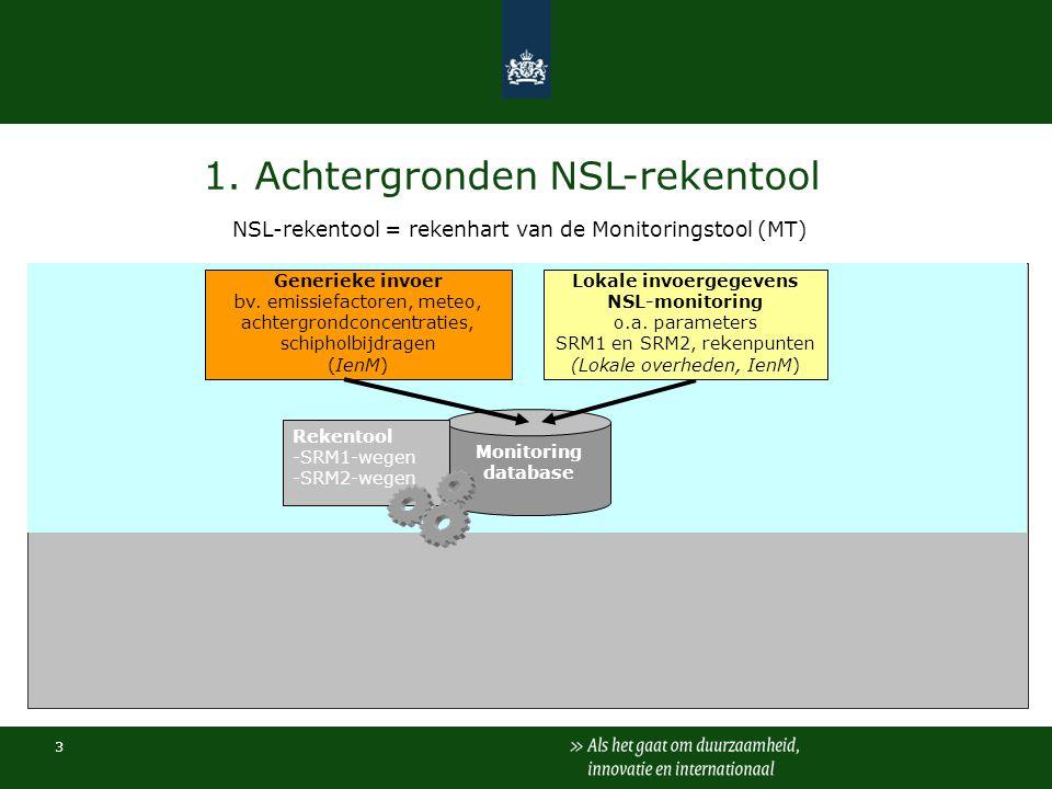 3 1. Achtergronden NSL-rekentool NSL-rekentool = rekenhart van de Monitoringstool (MT) Monitoring database Rekentool -SRM1-wegen -SRM2-wegen Generieke