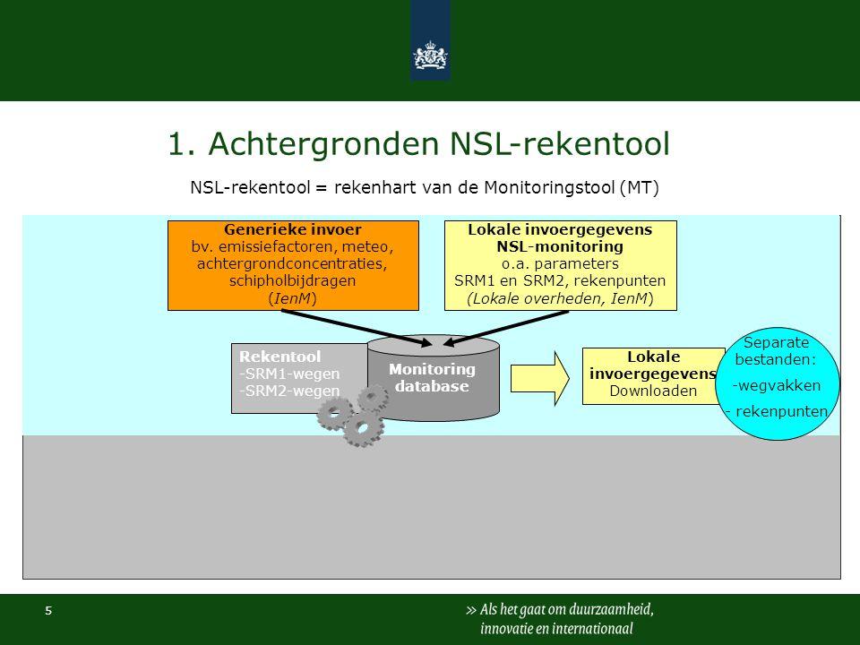 5 1. Achtergronden NSL-rekentool NSL-rekentool = rekenhart van de Monitoringstool (MT) Monitoring database Rekentool -SRM1-wegen -SRM2-wegen Generieke