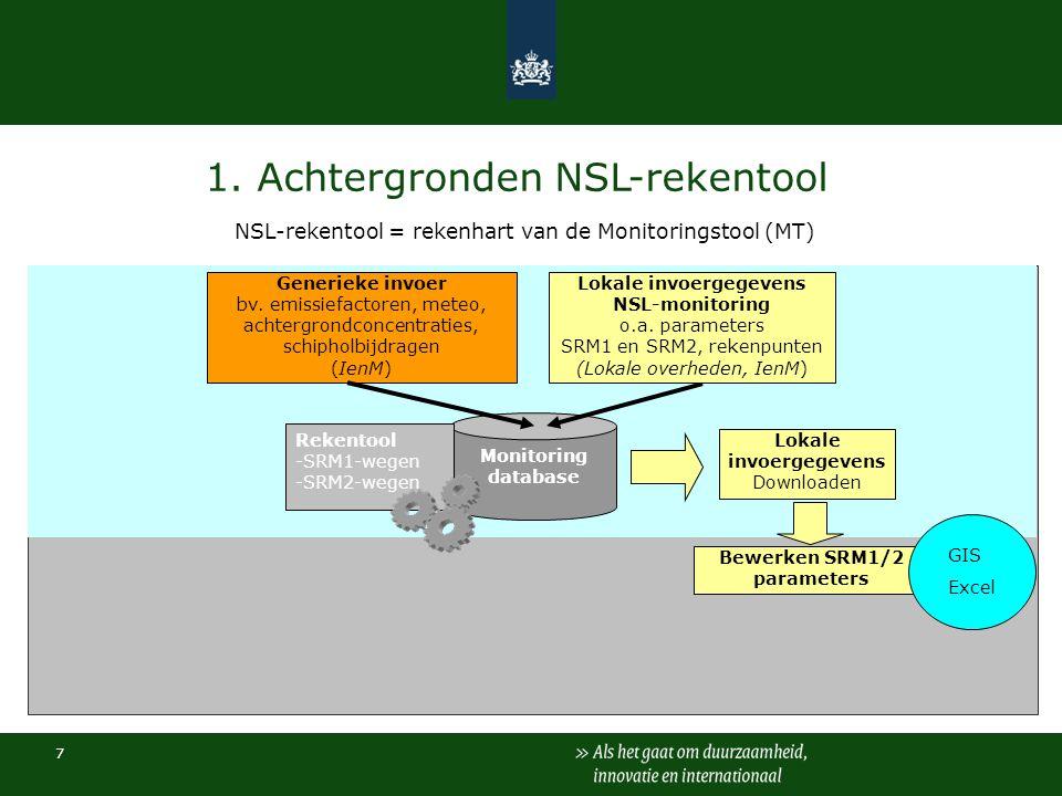 7 1. Achtergronden NSL-rekentool NSL-rekentool = rekenhart van de Monitoringstool (MT) Monitoring database Rekentool -SRM1-wegen -SRM2-wegen Bewerken