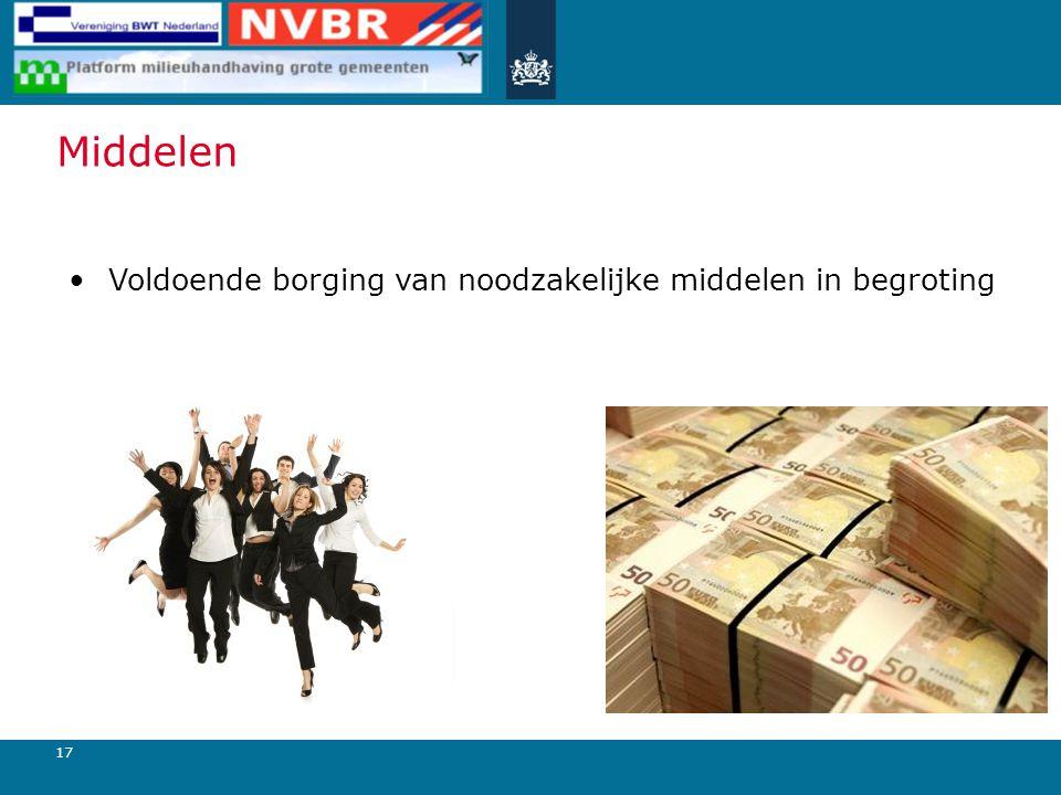 17 Middelen Voldoende borging van noodzakelijke middelen in begroting