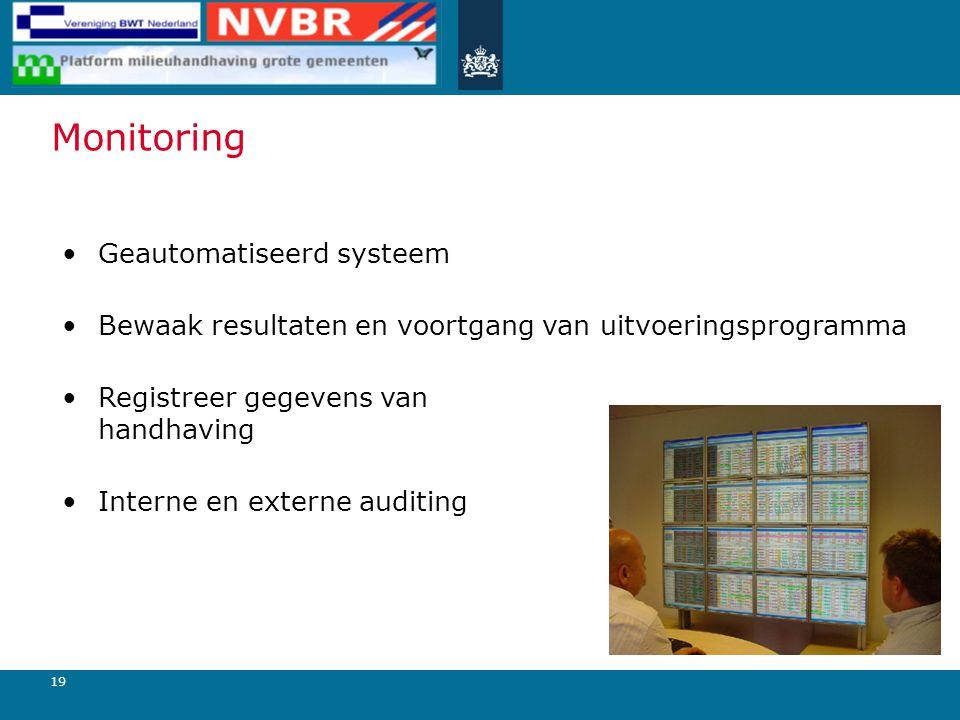 19 Monitoring Geautomatiseerd systeem Bewaak resultaten en voortgang van uitvoeringsprogramma Registreer gegevens van handhaving Interne en externe au