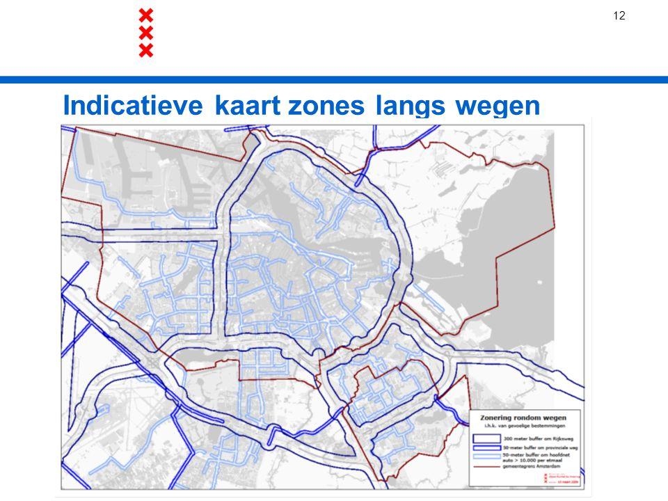 Indicatieve kaart zones langs wegen 12