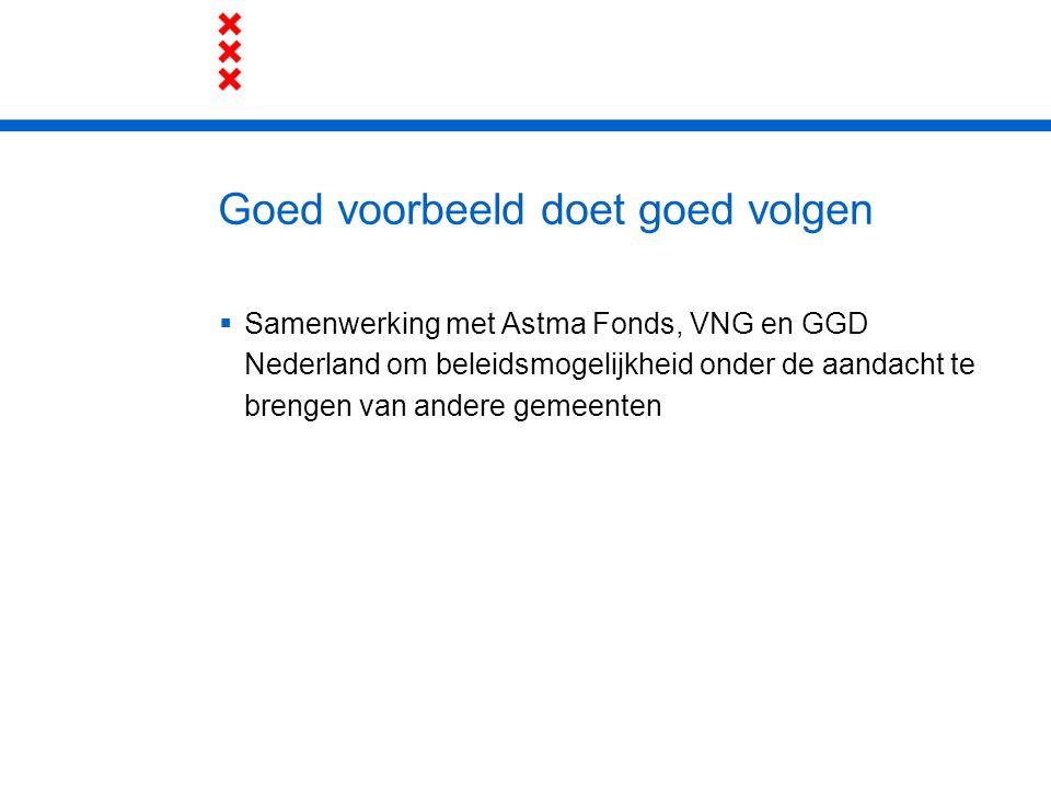 Goed voorbeeld doet goed volgen  Samenwerking met Astma Fonds, VNG en GGD Nederland om beleidsmogelijkheid onder de aandacht te brengen van andere ge