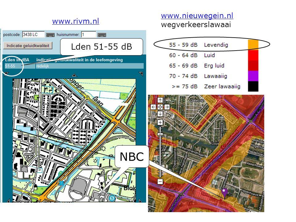 NBC Lden 51-55 dB www.nieuwegein.nl wegverkeerslawaai www.rivm.nl
