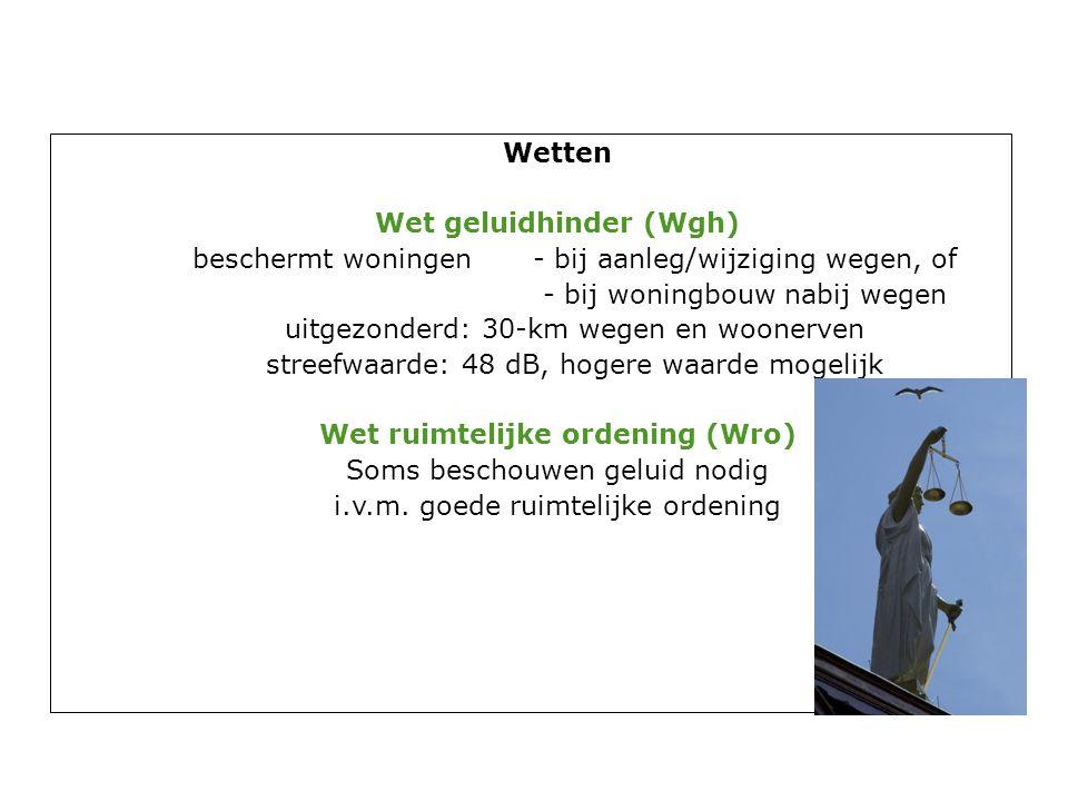 Wetten Wet geluidhinder (Wgh) beschermt woningen- bij aanleg/wijziging wegen, of - bij woningbouw nabij wegen uitgezonderd: 30-km wegen en woonerven streefwaarde: 48 dB, hogere waarde mogelijk Wet ruimtelijke ordening (Wro) Soms beschouwen geluid nodig i.v.m.