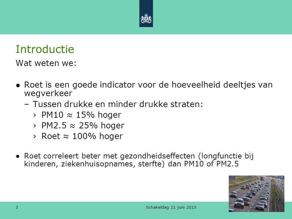 3 Introductie Wat weten we: ●Roet is een goede indicator voor de hoeveelheid deeltjes van wegverkeer –Tussen drukke en minder drukke straten: ›PM10 ≈