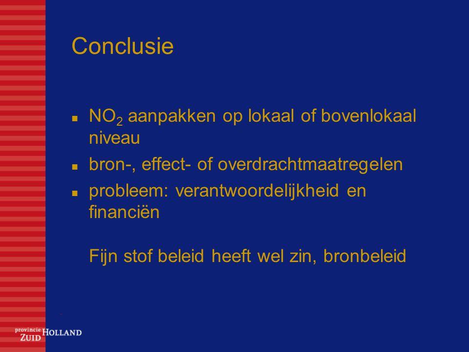 Conclusie NO 2 aanpakken op lokaal of bovenlokaal niveau bron-, effect- of overdrachtmaatregelen probleem: verantwoordelijkheid en financiën Fijn stof beleid heeft wel zin, bronbeleid