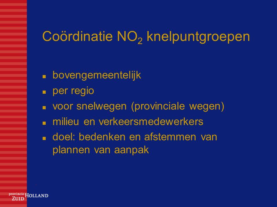 Coördinatie NO 2 knelpuntgroepen bovengemeentelijk per regio voor snelwegen (provinciale wegen) milieu en verkeersmedewerkers doel: bedenken en afstemmen van plannen van aanpak