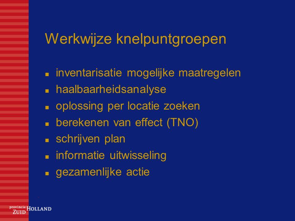 Werkwijze knelpuntgroepen inventarisatie mogelijke maatregelen haalbaarheidsanalyse oplossing per locatie zoeken berekenen van effect (TNO) schrijven plan informatie uitwisseling gezamenlijke actie
