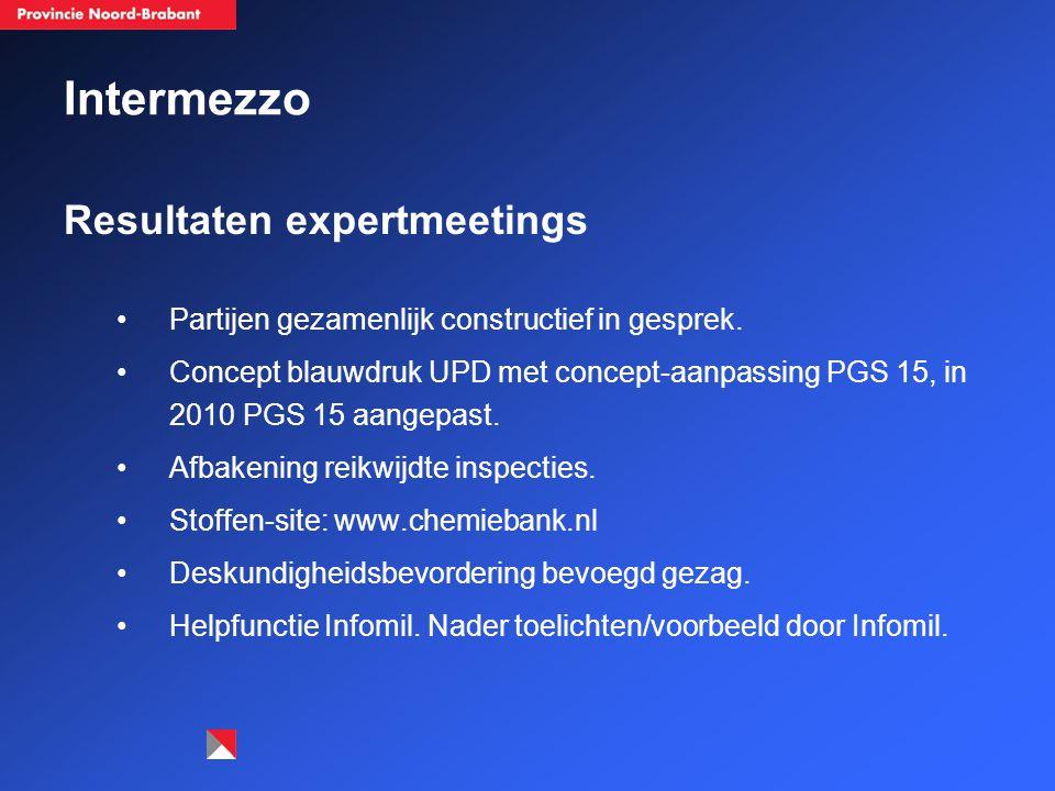 Intermezzo Resultaten expertmeetings Partijen gezamenlijk constructief in gesprek.