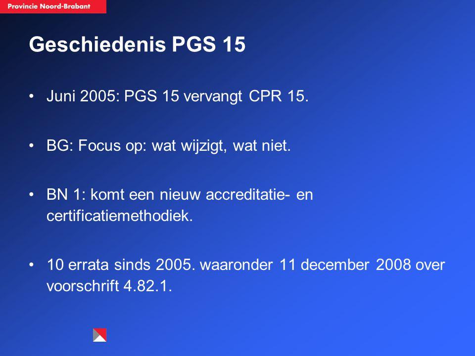 Geschiedenis PGS 15 Juni 2005: PGS 15 vervangt CPR 15.