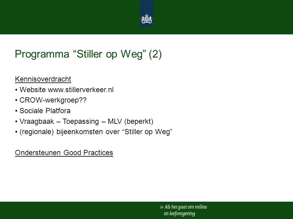 Programma Stiller op Weg (2) Kennisoverdracht Website www.stillerverkeer.nl CROW-werkgroep .