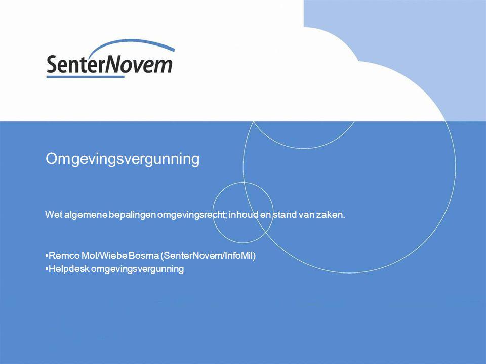 InfoMil is een opdracht van VROM en onderdeel van SenterNovem Inhoud presentatie Inhoud wet Stand van zaken Betekenis voor de praktijk Voordelen/nadelen Relatie met andere ontwikkelingen ICT Informatiebronnen