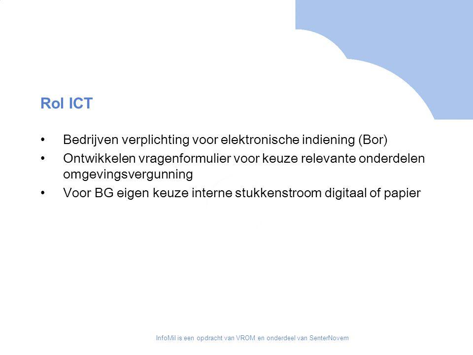 InfoMil is een opdracht van VROM en onderdeel van SenterNovem Rol ICT Bedrijven verplichting voor elektronische indiening (Bor) Ontwikkelen vragenformulier voor keuze relevante onderdelen omgevingsvergunning Voor BG eigen keuze interne stukkenstroom digitaal of papier