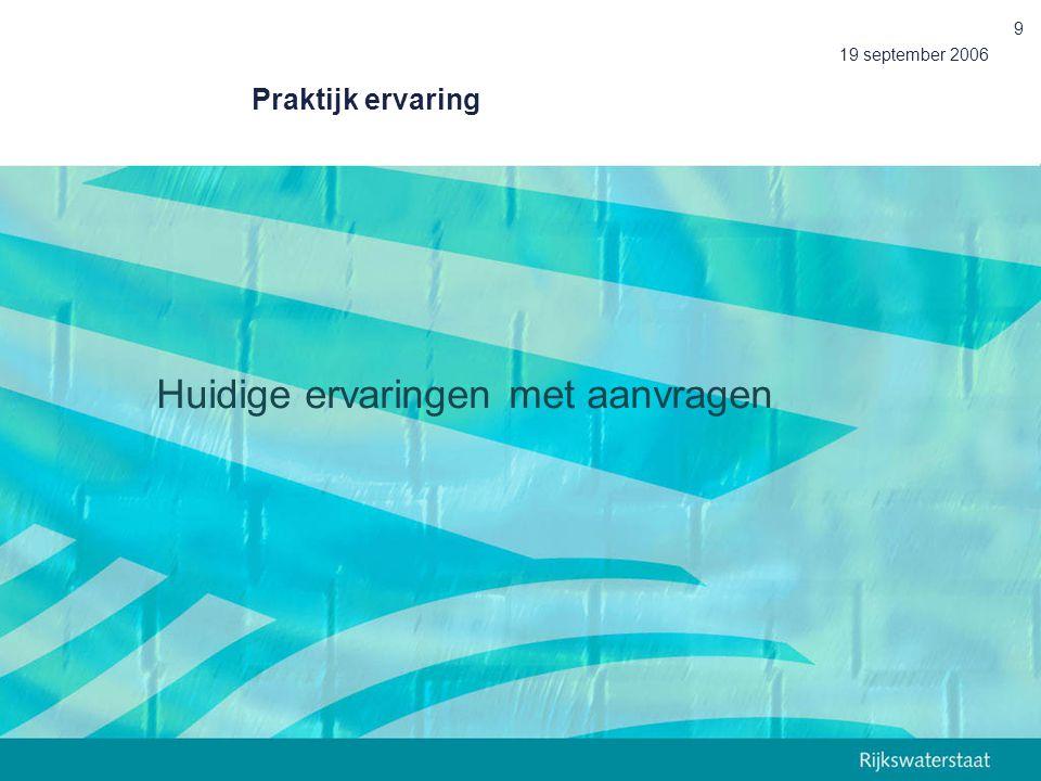 19 september 2006 9 Praktijk ervaring Huidige ervaringen met aanvragen