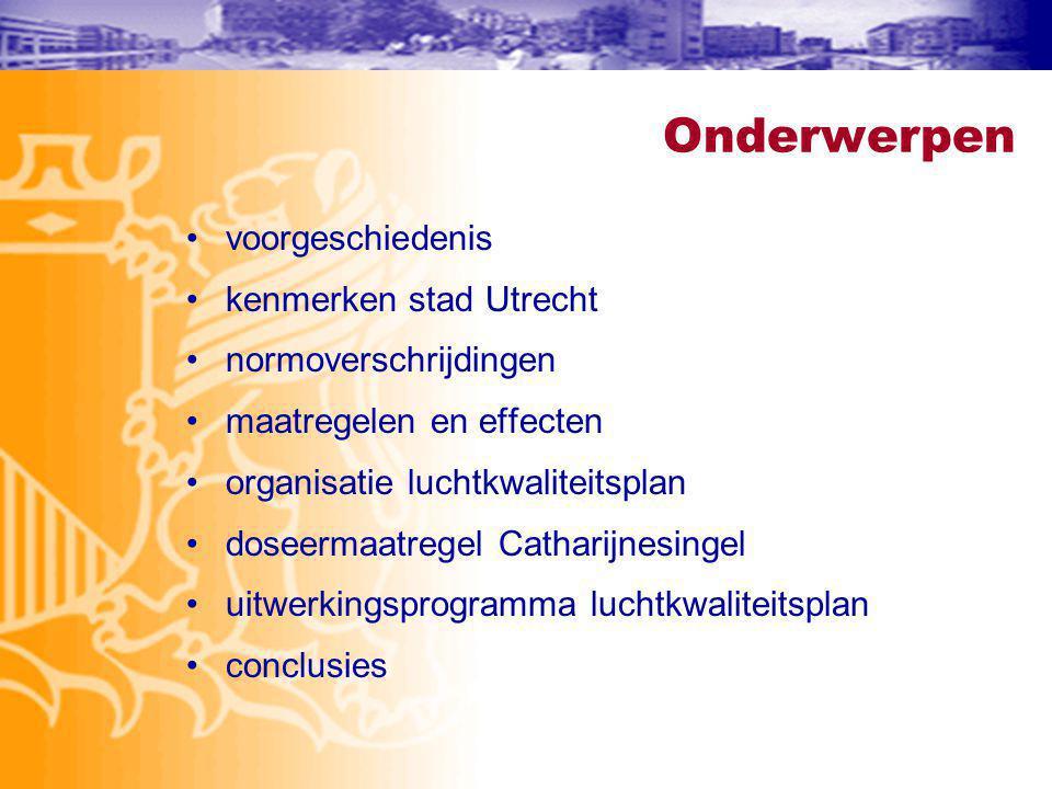 Onderwerpen voorgeschiedenis kenmerken stad Utrecht normoverschrijdingen maatregelen en effecten organisatie luchtkwaliteitsplan doseermaatregel Catharijnesingel uitwerkingsprogramma luchtkwaliteitsplan conclusies