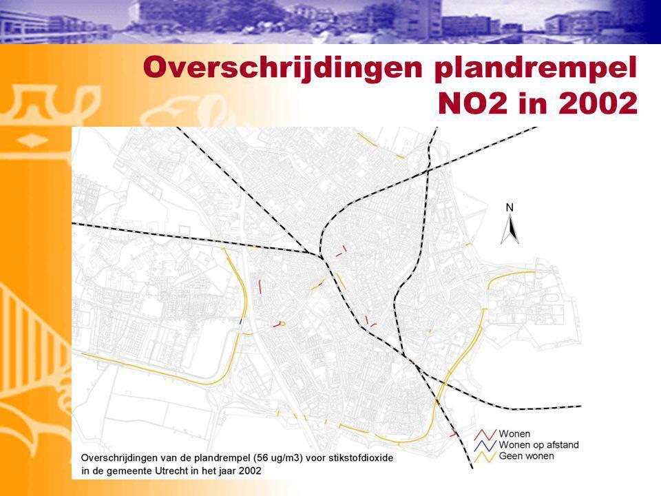 Overschrijdingen plandrempel NO2 in 2002