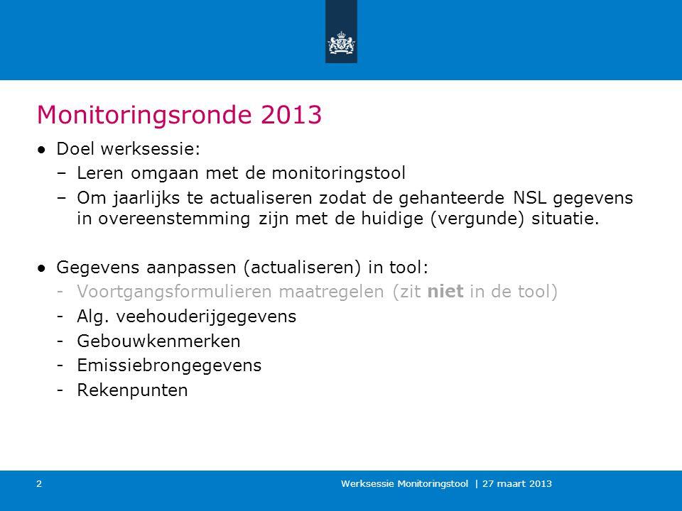 Werksessie Monitoringstool | 27 maart 2013 2 Monitoringsronde 2013 ●Doel werksessie: –Leren omgaan met de monitoringstool –Om jaarlijks te actualiseren zodat de gehanteerde NSL gegevens in overeenstemming zijn met de huidige (vergunde) situatie.