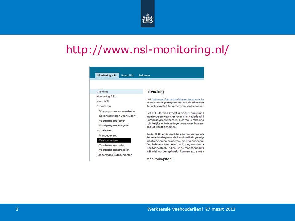 http://www.nsl-monitoring.nl/ Werksessie Veehouderijen| 27 maart 2013 3