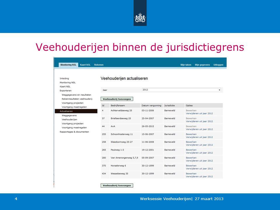 Veehouderijen binnen de jurisdictiegrens Werksessie Veehouderijen| 27 maart 2013 4