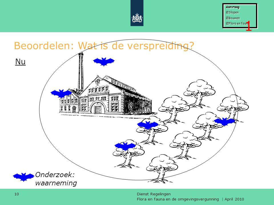 Flora en fauna en de omgevingsvergunning | April 2010 Dienst Regelingen 10 Beoordelen: Wat is de verspreiding? Onderzoek: waarneming Nu Aanvraag  Slo