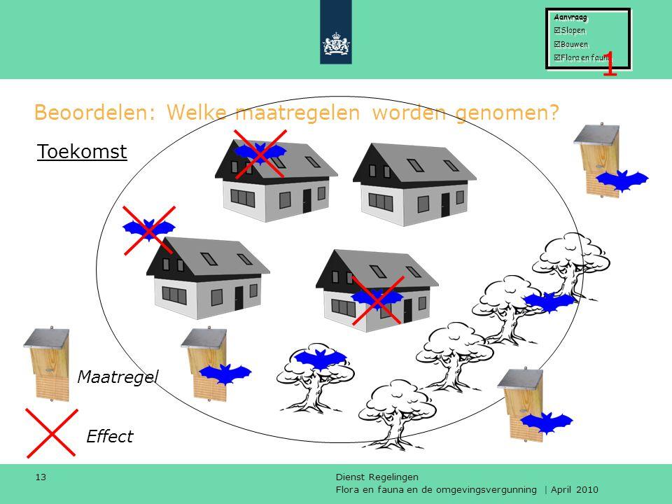Flora en fauna en de omgevingsvergunning | April 2010 Dienst Regelingen 13 Beoordelen: Welke maatregelen worden genomen? Effect Toekomst Maatregel Aan