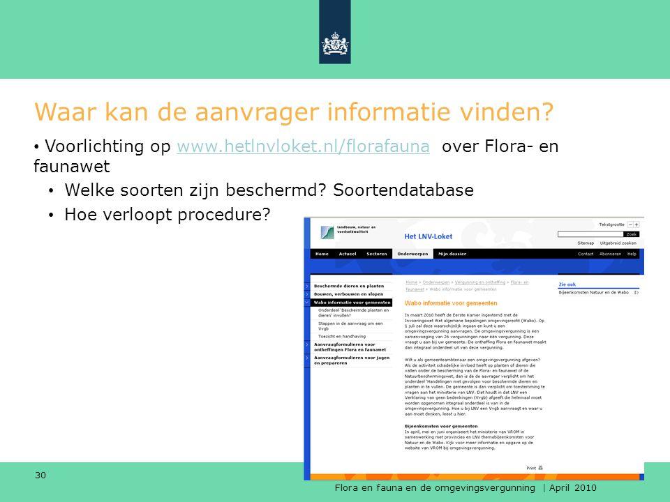 Flora en fauna en de omgevingsvergunning | April 2010 Dienst Regelingen 30 Waar kan de aanvrager informatie vinden? Voorlichting op www.hetlnvloket.nl