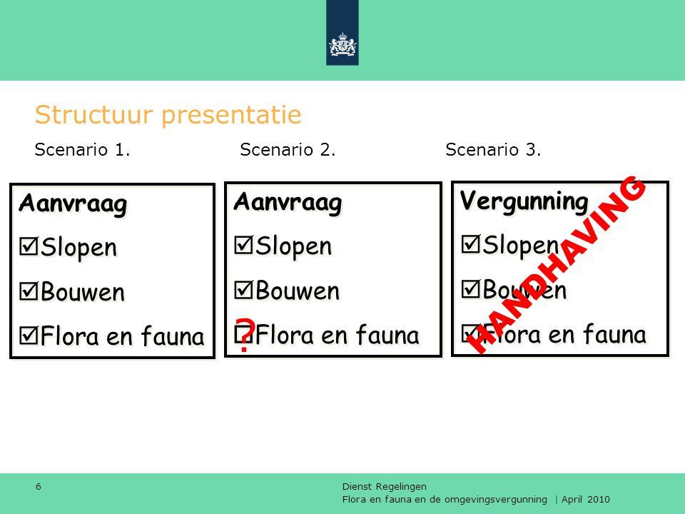 Flora en fauna en de omgevingsvergunning | April 2010 Dienst Regelingen 6 Structuur presentatie Scenario 1.Scenario 2.Scenario 3. Aanvraag  Slopen 
