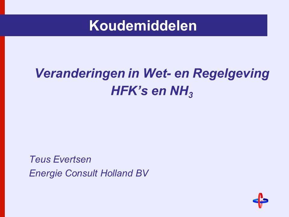 Koudemiddelen Veranderingen in Wet- en Regelgeving HFK's en NH 3 Teus Evertsen Energie Consult Holland BV